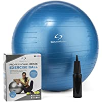 Exercise Ball – 65 cm or 75 cm Yoga Swiss Ball with Hand Pump – Gym Quality Fitness Ball for Women and Men