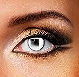 Funky Vision Kontaktlinsen - 12 Monatslinsen, White Mesh, Ohne Sehstärke, 1 Stück