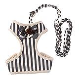 Pb peggybuy Pet Hundegeschirr Leine Set Gurt Gürtel Fliege Anzug weicher Verstellbarer Pet Geschirr für Katzen Hunde (grau) (L)