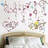 ALLDOLWEGE Der Kirschbaum Wand im Wohnzimmer mit einem Sofa tv Wand Aufkleber für Schlafzimmer sind gemütlich und mit Plakaten des Bettes an der Wand Papier selbstklebend eingerichtet, 60 * 90 cm.