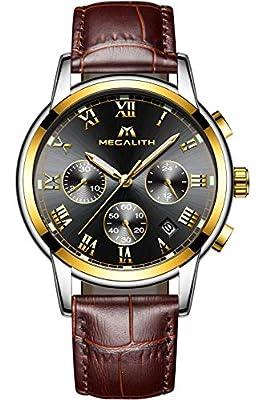 Relojes Hombre Relojes de Pulsera de Lujo Marea Cronometro Impermeable Fecha Calendario Analogicos Cuarzo Relojes de Hombre Deportivo Casual Clásicos Multifunción con Correa de Cuero