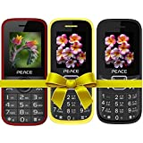 Combo Of 3 Mobiles(P3 Red Black+FM1 Black Blue+Yellow Black) With 1 Year Warranty