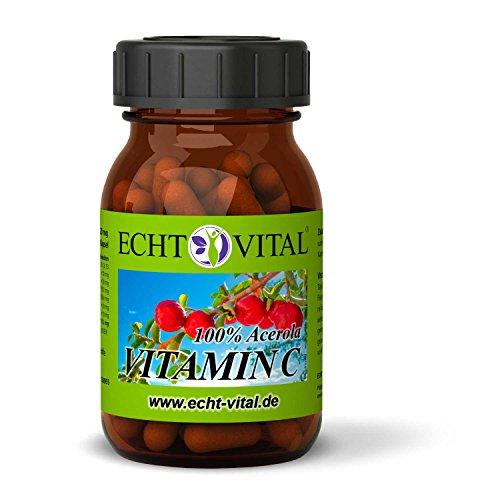 ECHT VITAL Vitamin C Kapseln | 100% Acerola Kirsche | Vergleichssieger 2019/01* | 60 Vit C Kapseln | Hochdosiert, Natürlich, Rein, Laborgeprüft, Markenqualität, Vegan -