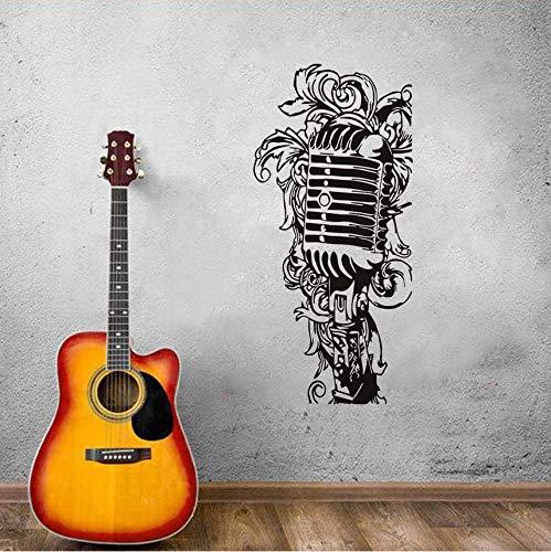 Wandtattoos & Wandbilder Schwarz Weiß Wandbild Poster Floral Musik Mikrofon Wandaufkleber PVC Removable Home Decor Vinyl Kunst Wandtattoos Dekoration 43x78cm Floral Musik