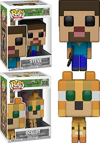 Funko POP! Minecraft: Steve + Ocelot – Stylized Video Game Vinyl Figure Set NEW
