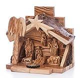 Handgeschnitzt Krippe Weihnachtskrippe mit Rinde, Dach In Bethlehem (Ow-Nat - 022)