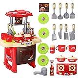 Qwhome Kinder Küche Spielzeug, Kinder Küche Kochen Rollenspiel Spielzeug Set mit Licht Sound-Effekt,Red