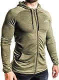 Natural Athlet Herren Fitness Trainingsjacke in Olive - Männer Sportjacke mit Kapuze für Fitnessstudio, Gym, Bodybuilding, Sport in Größe M