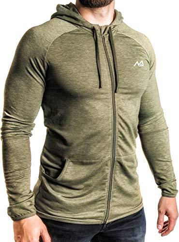Natural Athlet Herren Fitness Trainingsjacke in Olive - Männer Sportjacke mit Kapuze für Fitnessstudio, Gym, Bodybuilding, Sport in Größe XL