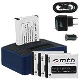 4x Akku + Dual-Ladegerät (Netz+Kfz+USB) für Samsung SLB-10A / Toshiba Camileo X-Sports / JVC Adixxion / Silvercrest / Medion Action Cam.. s. Liste