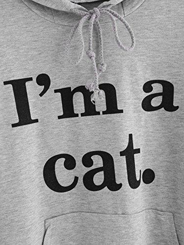 SIMYJOY Damen Niedlichen Hoodie Kätzchen Pullover mit Katzenohren Kitty Ohren Lockere Pullover Sweatshirts Grau
