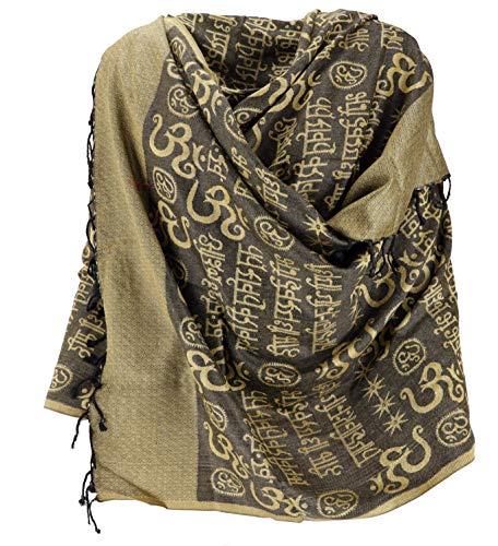 Guru-shop, sciarpa pashmina viscosa/stola con motivo om, giallo, sintetico, dimensione indumenti:one size, 180x70 cm, sciarpe