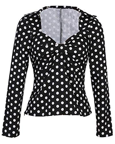 ZAFUL Damen 50s Blusenshirt Retro Sommer Top Pinup Kurz T Shirts mit Puffärmeln mit Mehreren Farben S-4XL (L, Langarm Schwarz) (Pinup Halloween)