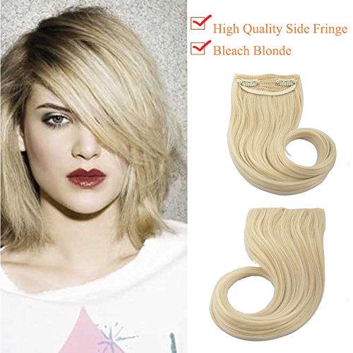 Extension frangia clip capelli hair bang fascia unica 30g frangetta laterale biondo decolorante