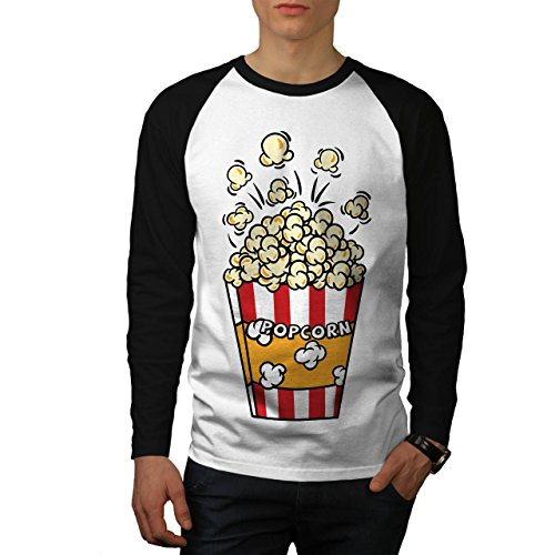 Film Liebhaber Popcorn Tasche Men S Baseball LS T-shirt | Wellcoda (Baseball Bekam)