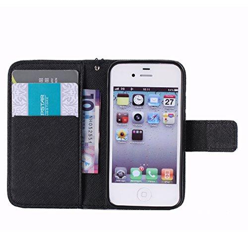 C-Super Mall-UK Apple iPhone 5 / 5S / SE-Fall, PU-Leder-Mappen-Standplatz -Schlag-Fall für Apple iPhone 5 / 5S / SE KT6031610