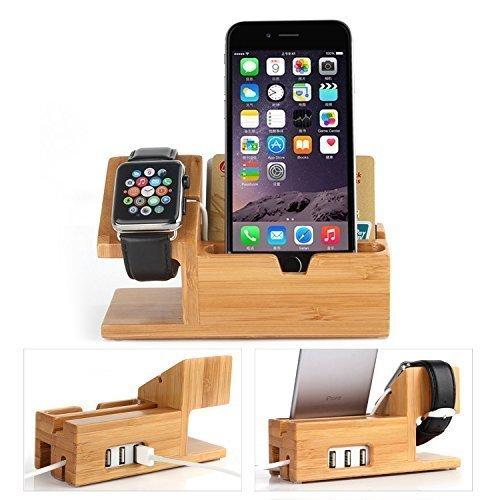 Apple Watch Stand con USB 2.0 Hub, Hapurs 2 en 1 iWatch Bamboo Wood Charging Dock Charger Station Cradle Holder con 3 puertos Hub USB 2.0 para Apple Watch 38mm 42mm y iPhones y otros teléfonos inteligentes