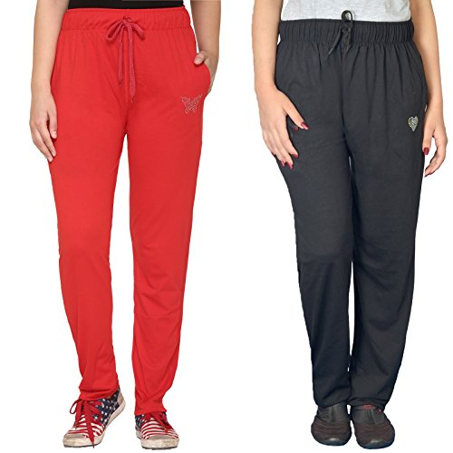 CUPID WOMEN COTTON TRACK PANTS ( COMBO PACK OF 2) (XX-Large)