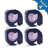 4x Compatible DYMO 12267 16951 LetraTag Plastique Étiquettes Noir sur Transparent 12mm x 4m pour Dymo LetraTag LT-100H LT-100T LT-110T QX 50 XR Étiqueteuse