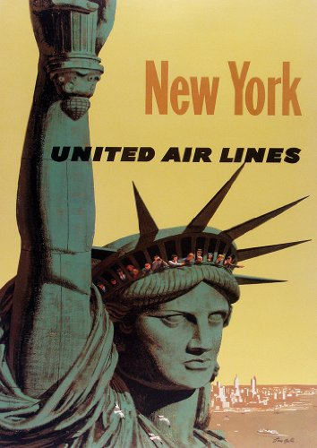 Vintage Retro United Airlines To New York