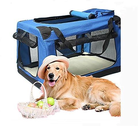 LOHUA Folding Soft Dog Crate, intérieur et extérieur Pet Home, Tailles multiples avec molleton , xs- ultra small 50*38*38 , blue