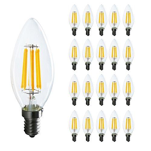Mengjay 20 Packs E14 6W LED Kerzenbirne Lampe Energiesparlampe Leuchte Warmweiß 3000K 580LM Ersetzt 55W 360º Abstrahlwinkel Ø34 x 100mm