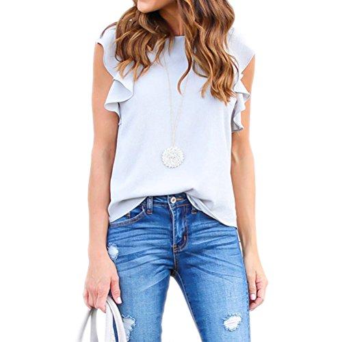 Nlife Frauen Sexy Chiffon Rüsche Kurzarm Shirt Tops Bluse Tee Tanks (Top Cap Tank Sleeve T-shirt)