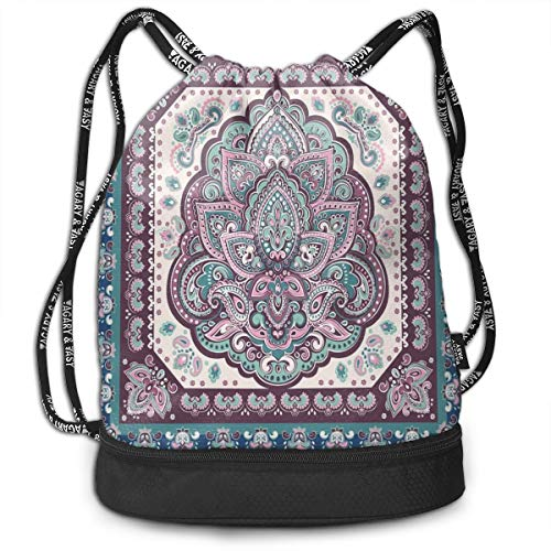 LULABE Printed Drawstring Backpacks Bags,Bohemian Hippie Mandala Arabic Paisley Oriental Asian Design,Adjustable String Closure -
