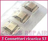 3 CONNETTORI RICARICA Charge Micro USB 11 PIN da Saldare 4 PIEDINI Verticali di Fissaggio Porta DATI - CARICA per SAMSUNG GALAXY S3 I9300 I9301I Neo I9305 LTE