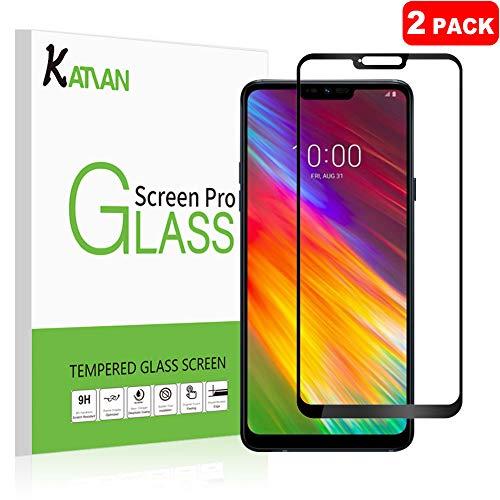 [2-Stück] LG G7 ThinQ Panzerglas Schutzfolie, KATIAN Panzerfolie Bildschirmschutz 9H Gehärtetem Glass,Fingerabdruck-frei, HD Bildschirmschutzfolie für LG G7 ThinQ/ LGG7One/LGG7Fit (Schwarz)