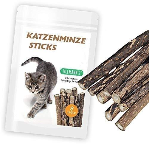 Tillmann's Katzenminze Sticks | Katzenspielzeug | 8 Sticks | Verhilft Mundgeruch & Zahnstein