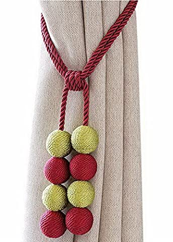 Magnet Curtain Straps Creative Curtain Tied Rope No Hole Hook Red And Grassgreen