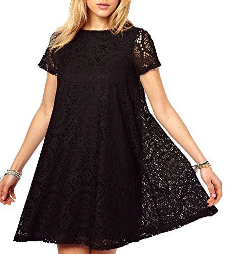 Vestito donna taglie forti sciolto estate elegante pizzo manica corta abito a linea a nero xl