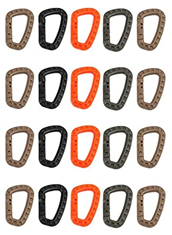 ZENDY PVC Plastic Spring-lock D-Shaped PVC Locking Carabiner Key Holder Hook Keychain for Home, RV, Camping, Fishing, Hiking, Traveling and Keychain, Assorted Colors (Pack20)