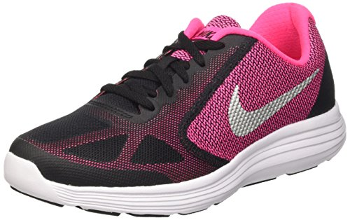 Nike Revolution 3, Chaussures de Running Fille, Multicolore (Black/Metallic Silver/Hyper Pink/White), 37.5 EU