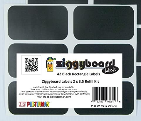 Ziggyboard Chalkboard Labels Refill Kit 2x3.5 Inches 42 Rectangle Shape Stickers Labels Only No Marker by Ziggyboard