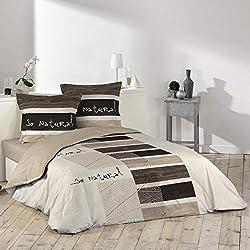 Douceur D'Intérieur So Natural - Ensemble avec housse de couette et 2 taies d'oreiller, coton, imprimé, 240 X 220 cm