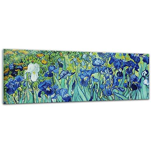 Glasbild Vincent Van Gogh - Alte Meister - Iris - 90x30 cm - Deko Glas - Wandbild aus Glas - Bild auf Glas - Moderne Glasbilder - Glasfoto - Echtglas - kein Acryl - Handmade - Iris Glas