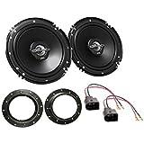 LSP-Set: JVC - CS-J620X - 300Watt / 30Watt RMS 2-Wege Koaxial - Lautsprecher-Paar + Lautsprecherkabel und Ringe für VW Golf V ◦Transporter T5 ◦Touran Einbauort: Fronttür
