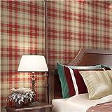 huangyahui Modern American Pure Papiertapete, Schlafzimmer, Wohnzimmer, Hintergrund Kleidung Shop, rot, grün, blau gestreift kariert Tapete Dull red