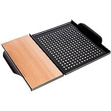 Rustler Tavoletta in Legno e Griglia per Barbecue| Set Tavoletta per Planking e Vassoio dotato di Griglia in Acciaio Inossidabile al Carbonio - Nero