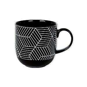 Tazza motivi grafici in porcellana 32cl–set di 6–Almera–Bruno Evrard