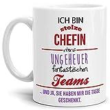 Tasse mit Spruch Chefin Lila-Orange - Kaffeetasse/Mug/Cup - Qualität Made in Germany