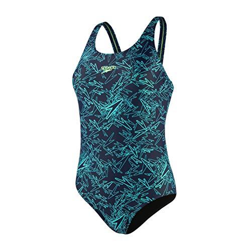 Speedo Damen Boom Allover Muscleback Badeanzug, Navy/Aqua Splash/BRT, 42 (DE 46) -