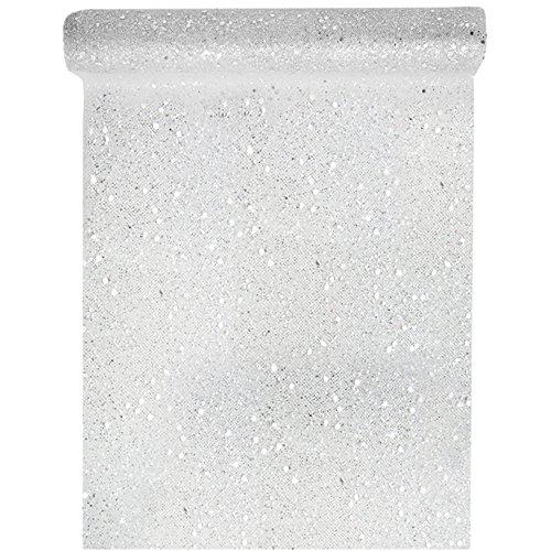 Silber Tüll Glitter (Tischläufer Tüll Glitter 30cm x 5m Silber Tüllstoff Tischdecke Hochzeit Dekostoff Deko)
