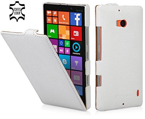 StilGut UltraSlim Case, Custodia in Vera Pelle per Nokia Lumia 930, Bianco