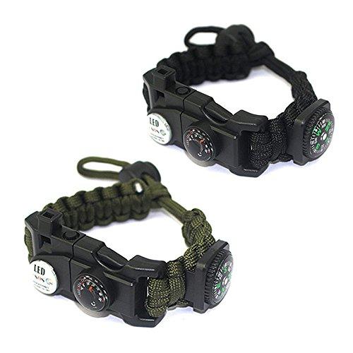 HanDingSM, Survival-Armband, verstellbares Paracord-Armband mit integriertem Kompass, Thermometer, SOS-LED-Licht, Notfallmesser, Pfeife, Feuerstarter, kleines Multi-Tool-SurviBootsfahrten 2 Stück