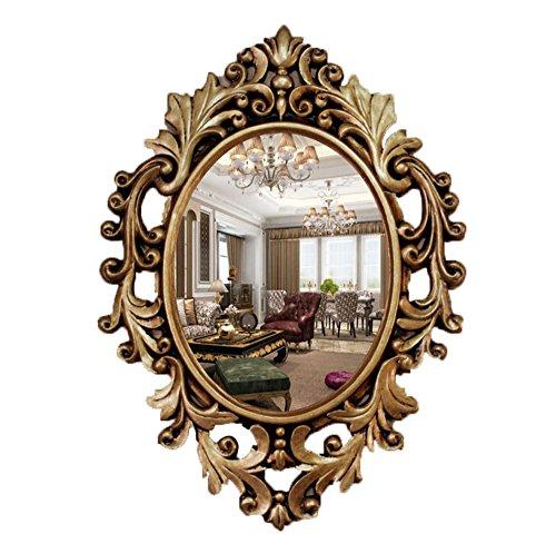 Xiuxiandianju European-Style bagno specchio a parete decorativo ovale Specchio Dresser Lavabo Specchio classico intagliato specchio (Camera Ovale Dresser)