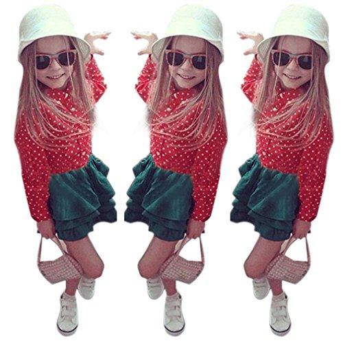 Culater® Bambino del vestito della ragazza Red Dot Stampa Shirt Top + Skirt Set Outfits (120)