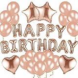 Alohar 37 Pièces Anniversaire Décorations Ballons - Or Rose Latex Ballons Ballon Aluminium Bannière de Happy Birthday pour Fêtes, d'anniversaire Deco Party Decorations Fournitures